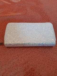 Glitter purse wallet white