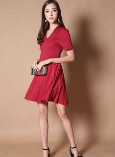 BNWT [The Stage Walk] Lyn V Neck Skater Dress in Wine Red