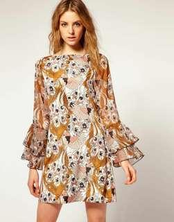 VERO MODA Vintage Print Fluted Long Sleeve Dress #50TXT Worn Once