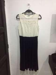 Marks & Spencer Midi Dress (white & navy blue)