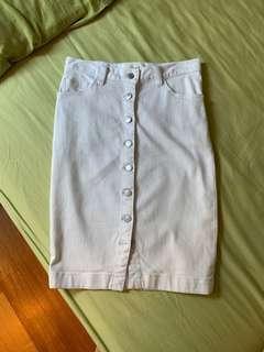 🚚 Seed Heritage White Denim Midi Skirt