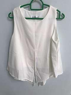 🚚 White Sleeveless Cut Out Top
