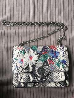 Mango Sling Handbag Embroidery Black