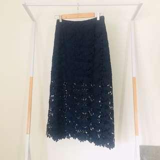 Keepsake High Waisted Navy Blue Lace Midi Skirt