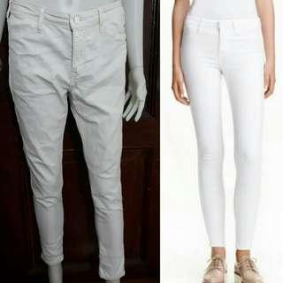 white Skinny fit ankle regular waist pants