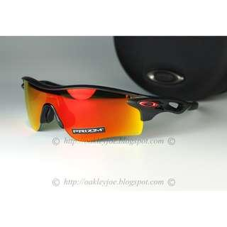 🚚 Oakley Radarlock Asian Fit matte black ink + prizm ruby iridium oo9206-4238 sunglass shades