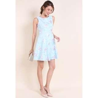 [Neonmellon] MADEBYNM MING EMBROIDERY MESH SKATER DRESS IN CANDY BLUE