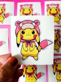 💖WATERPROOF💖 Pikachu in Slowpoke Costume Luggage / Laptop Stickers #350