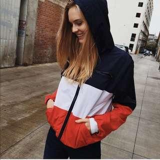 brandy melville red colourblock krissy windbreaker jacket