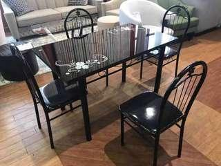 Black glass pattern dining table and chairs