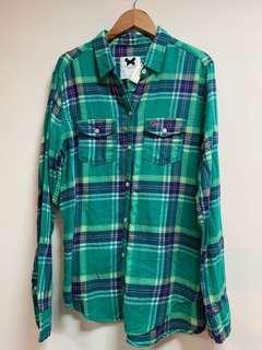 🚚 GILLY HICKS 綠格子薄款法蘭絨長袖襯衫