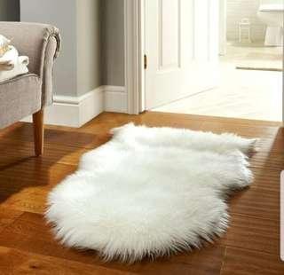 Soft Ivory Fur Throw Rug