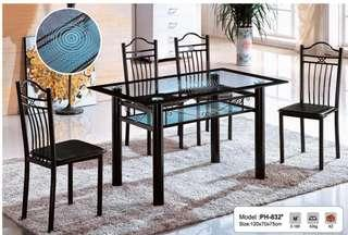 Double glass black dining table and chairs