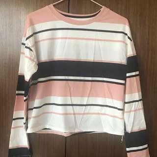 🚚 粉色條紋短版上衣🍬