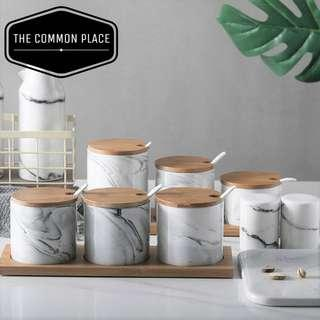 🚚 INSTOCK Nordic Grey Marble Print Wooden Ceramic 3pc Kitchen Cooking Condiments Jars