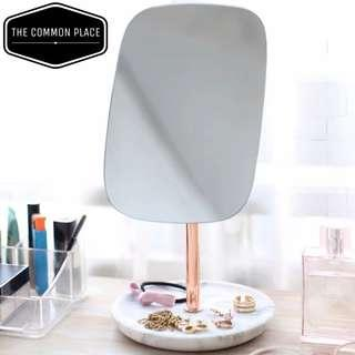 INSTOCK Nordic White Marble Rose Gold Table Vanity Mirror