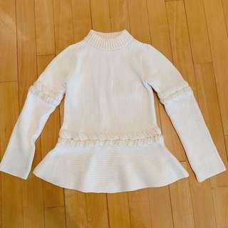 Sacai white and cream trim knit top