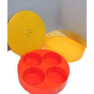 Round Yellow Hard Plastic Container