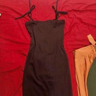 Plum tie strap bondage dress