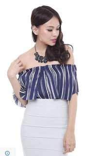 🚚 MDS Stripes Pleated Tube Top