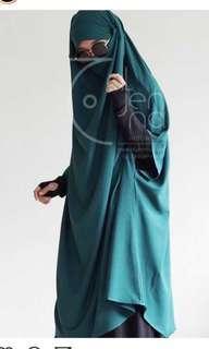 French khimar Aljenna Emerald Green