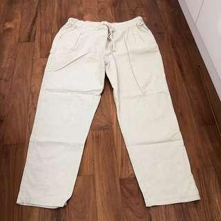 🚚 BN linen beige brown draw string elastic cropped pants