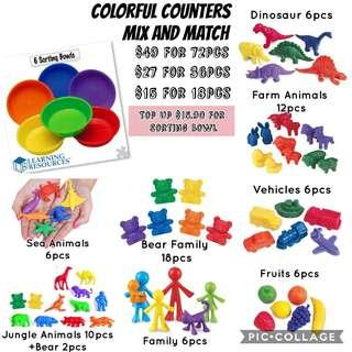 Learning Resources + Learning Advantage Colorful Counters Mix & Match DIY My First Sorting Set - Dino, Vehicles, Fruits, Bear, Family, Jungle, Sea, Farm Animals Educational Tools for Homeschooling (Holiday Traveling Busy Activities) Tot / Home School Math