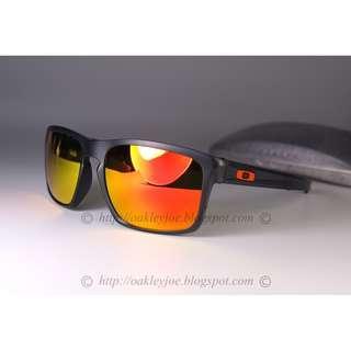 🚚 Oakley Custom Silver F matte grey smoke + fire lens