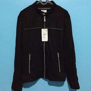 faux suede jacket zara man black size L original New
