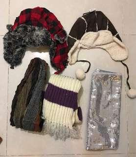 2 Winter hats, 3 Scarves (5 items)
