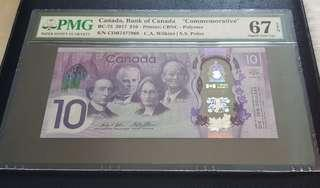 Canada $10 Commemorative Banknote 2017 PMG 67 Superb Gem UNC