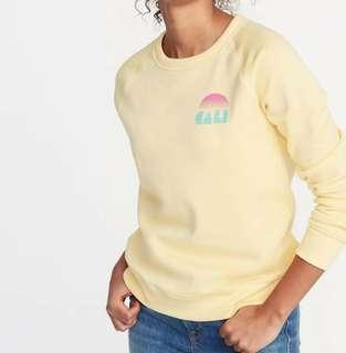 Sweater OLD NAVY Yellow RAINBOW pink Graphic
