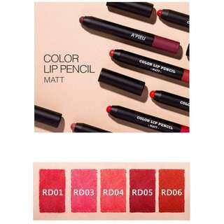 A'PIEU Color Lip Pencil Matt in OR01 / PK2 / RD05