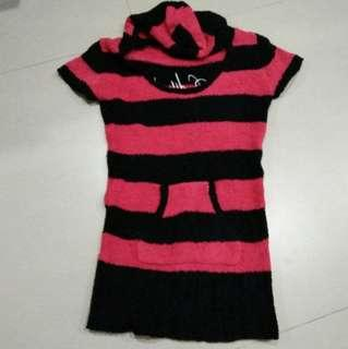 Black & Pink Stripped Fur Hoodie