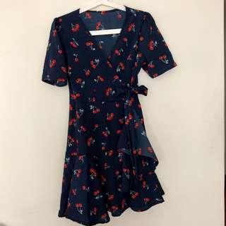 🚚 Cherry Printed Ruffle Wrap Dress