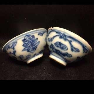 #QQH-0082:【清】清代青花纏枝斗笠茶杯一對 (#1)