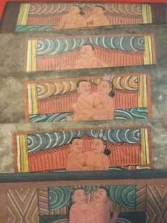 西藏舊木制人像手繪畫