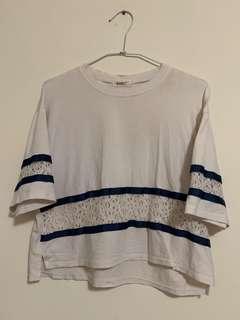 🚚 白色透視蕾絲T恤