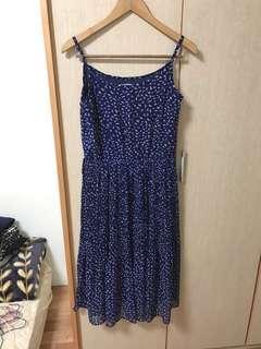 全新 藍色百摺雪紡連身洋裝 藍色 mimi.ricco