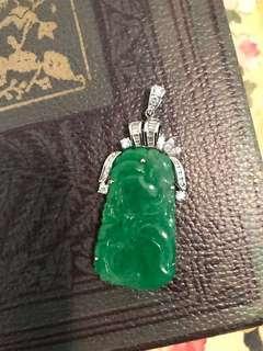 天然大翡翠鑽石吊墜18k 金 jade diamond pendant