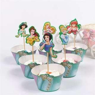 Princess theme party supplies - cupcake toppers wrappers/ party deco
