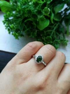 🚚 $68 Sales Icy Bluish Green Type A Grade A Natural Jadeite Jade Fei Cui 925 Silver White Gold Plated Ring