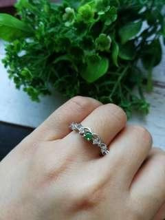 🚚 $48 Sales Type A Grade A Natural Jadeite Jade Fei Cui 925 Silver White Gold Plated Ring