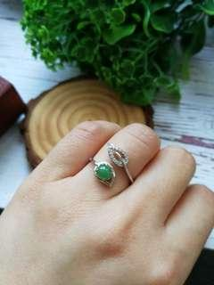 🚚 $58 Sales Type A Grade A Natural Jadeite Jade Fei Cui 925 Silver White Gold Plated Ring