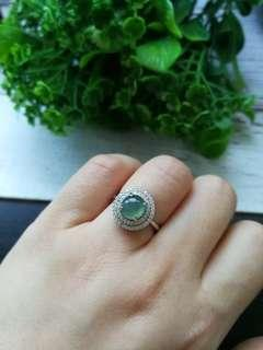 🚚 $88 Sales Type A Grade A Natural Jadeite Jade Fei Cui 925 Silver White Gold Plated Ring
