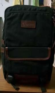 PROTOCOL CANVAS AND LEATHER BACKPACK-BLACK/BROWN