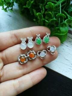 🚚 $38 Each Sales Type A Grade A Natural Jadeite Jade Fei Cui 925 Silver White Gold Plated Earrings