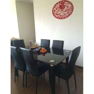 Tempered Glass Top Dining Table With 6 Chairs
