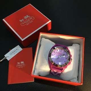 Authentic Coach Case Purple Rubber Watch (Jam Tangan)