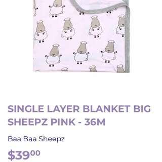 BN Brand New Moo Moo Kow Moomookow Baa Baa Sheepz Bamboo Baby Blanket & Wrap Single Layer Pink Grey Nursing Cover Pram